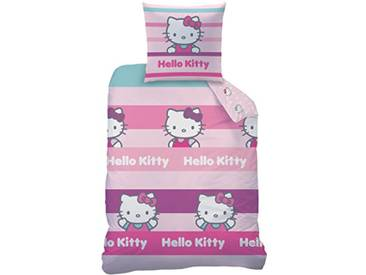 CTI Housse DE Couette 140X200 ET 1 TAIE 63X63 Hello Kitty CECILE-60 Taille Francaise, 60% Coton 40% Polyester, Rose, 140 x 200
