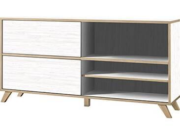 Germania Étagère à portes coulissantes 4171-247 GW-Helsinki coloris Pinie Blanc repro/Chêne Navarra repro, l/h/p env. 180/92/40 cm