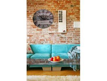 Walplus Autocollant mural motif horloge mural avec couronne décoration intérieur rétro