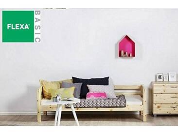 FLEXA Lit Banquette en pin Vernis Naturel Couchage 90 x 200